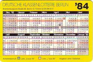Lotto-Kalender 1984
